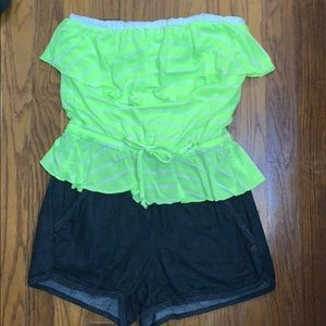 Neon one piece short outfit